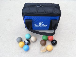 12 Minigolfbälle mit großer Balltasche