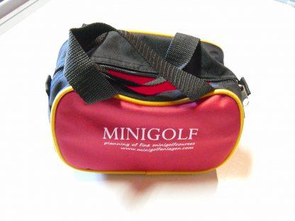Kleine Minigolf Balltasche für ca. 15 Bälle, Schwarz - Rot