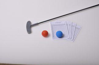 Minigolf Set 6 (= Kinderschläger, 2 Anlagenbälle, Trainingsprotokolle)