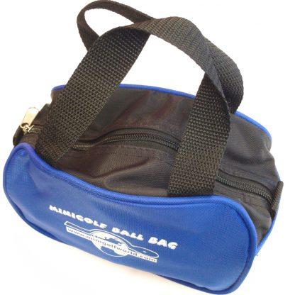 Kleine Minigolf Balltasche für ca. 15 Bälle, Schwarz - Blau