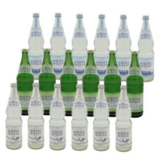 Schatzquelle naturell, medium und spritzig Mineralwasser 18 Flachen