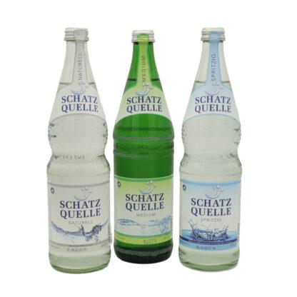 Schatzquelle naturell, medium und spritzig Mineralwasser